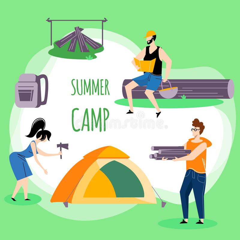 Company of Young People Spend Time at Summer Camp. In Deep Forest. Set Up Tent, Collecting Brushwood for Campfire. Men and Woman Friends on Vacation, Square vector illustration