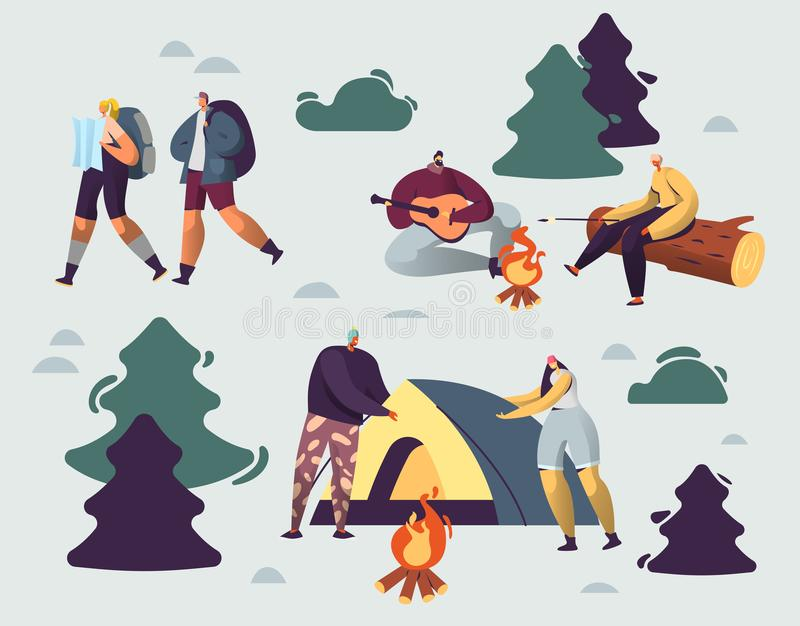 Company of Young People Spend Time at Summer Camp in Deep Forest. Set Up Tent, Playing Guitar at Campfire. Men and Woman Friends. Hiking with Backpack on stock illustration
