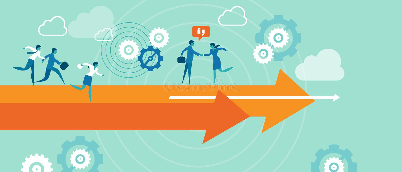 Companys direction leadership marketing team stock illustration
