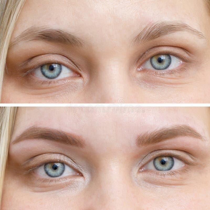 Comparação da foto antes e depois da composição permanente, tattooing das sobrancelhas foto de stock royalty free