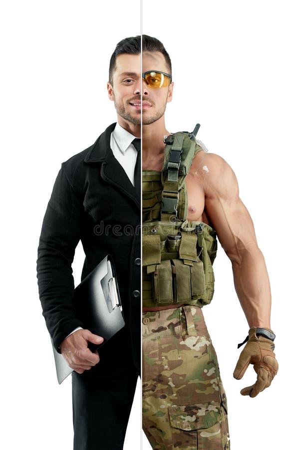 Comparação da probabilidade do ` s do homem de negócios e do soldado imagem de stock