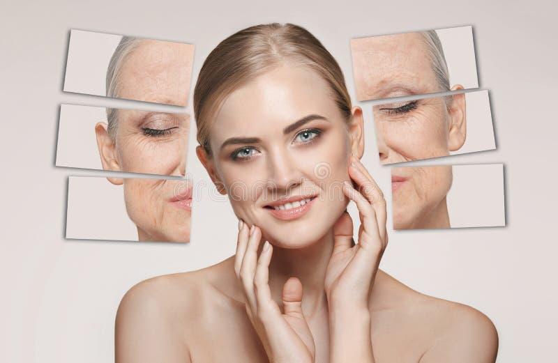 comparação Retrato da mulher bonita com problema e conceito limpo da pele, do envelhecimento e da juventude, tratamento da beleza fotografia de stock royalty free