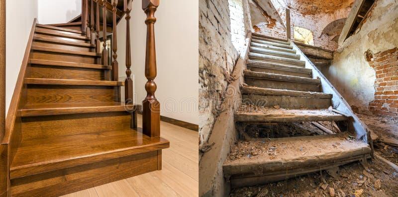 Comparación de la escalera de madera marrón moderna del roble con la verja tallada en nuevas escaleras interiores y viejas renova imagen de archivo