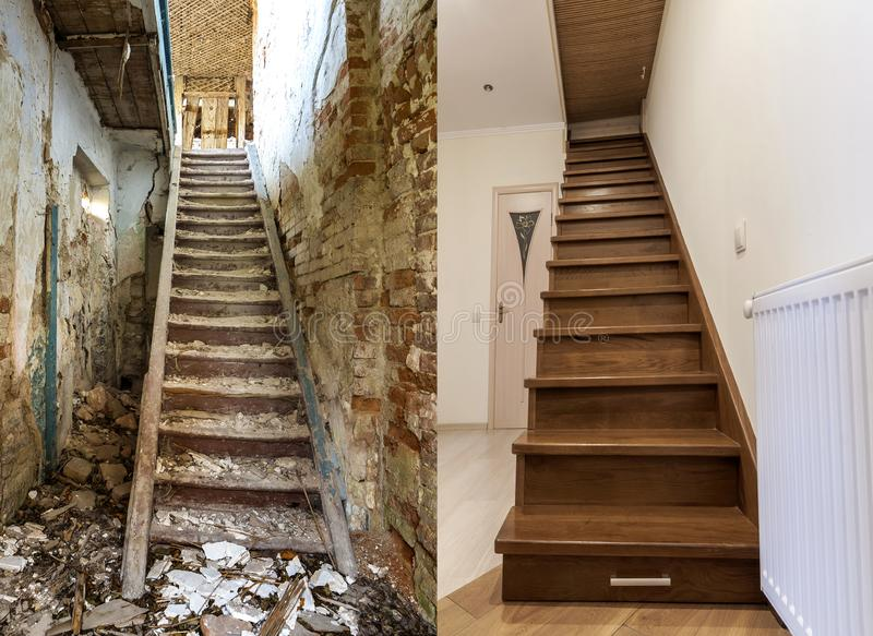 Comparación de la escalera de madera marrón moderna en nuevas escaleras interiores y viejas renovadas del apartamento de la escal imagenes de archivo