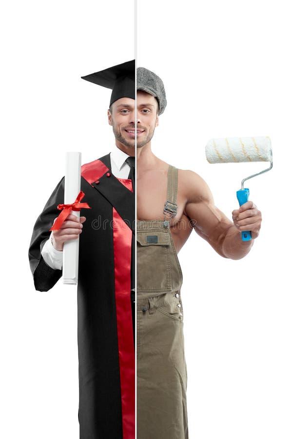 Comparación de la foto de la perspectiva del ` s del graduado y del pintor del ` s de la universidad foto de archivo