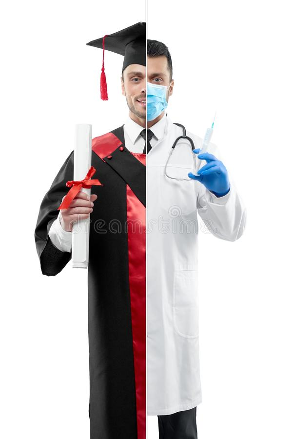 Comparación de la perspectiva graduada de la profesión del ` s del doctor y de la universidad imágenes de archivo libres de regalías