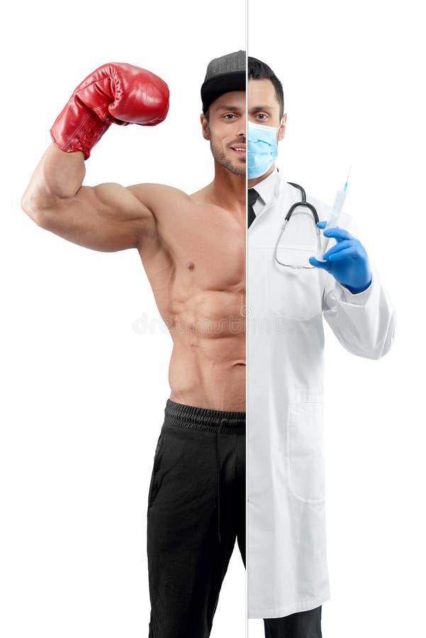 Comparación de la perspectiva de la profesión del ` s del doctor y del boxeador imágenes de archivo libres de regalías