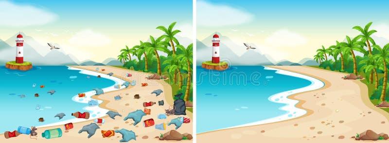 Comparación de la playa sucia y limpia libre illustration