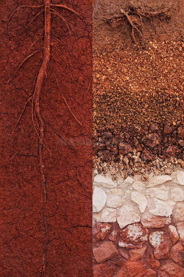 Comparación de las capas del suelo de la buena calidad con la naturaleza de ocurrencia de la calidad baja del suelo imagen de archivo