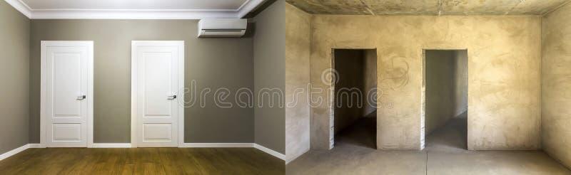 Comparación de un cuarto en un apartamento antes y después de la renovación foto de archivo