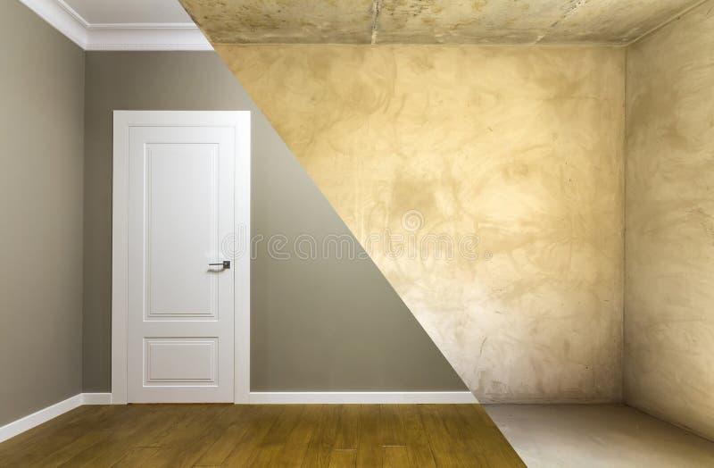 Comparación de un cuarto en un apartamento antes y después de la renovación fotos de archivo