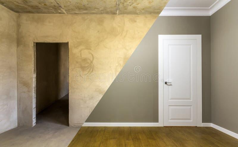 Comparación de un cuarto en un apartamento antes y después de la renovación fotografía de archivo libre de regalías
