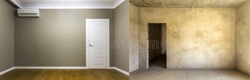 Comparación de un cuarto en un apartamento antes y después de la renovación imagen de archivo