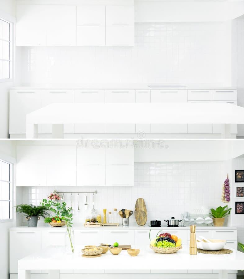 Comparación en medio antes y después de la decoración de la cocina sobre fotografía de archivo libre de regalías