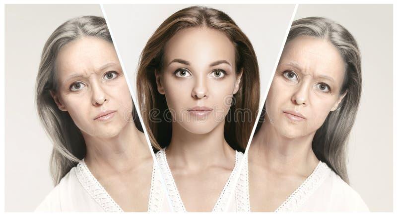 comparación Retrato de la mujer hermosa con el problema y el concepto limpio de la piel, del envejecimiento y de la juventud, tra fotografía de archivo