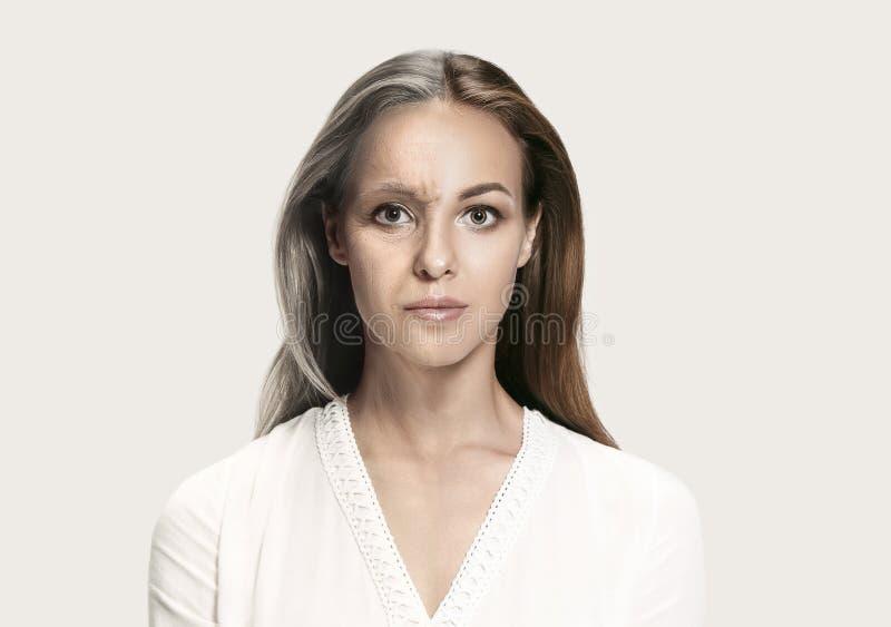 comparación Retrato de la mujer hermosa con el problema y el concepto limpio de la piel, del envejecimiento y de la juventud, tra foto de archivo