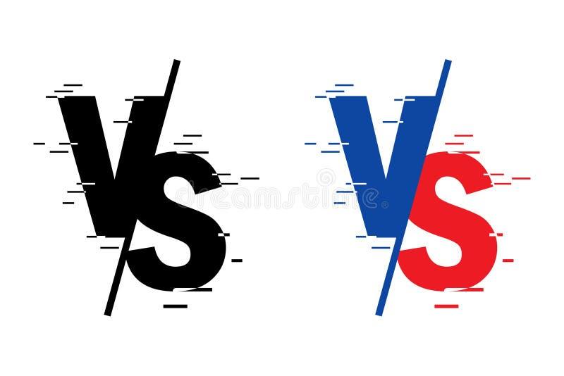 Comparado a la pantalla Lucha contra fondos cara a cara, rojo contra azul Las letras negras texturizan forma Vector ilustración del vector