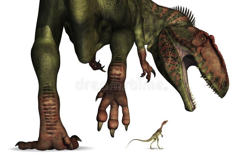 Comparaison de taille de dinosaur - énorme à minuscule illustration de vecteur