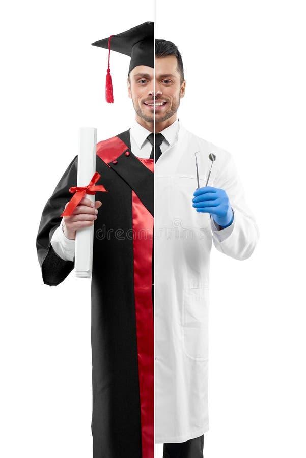 Comparaison des perspectives licenciées de profession du ` s de dentiste et d'université photos stock