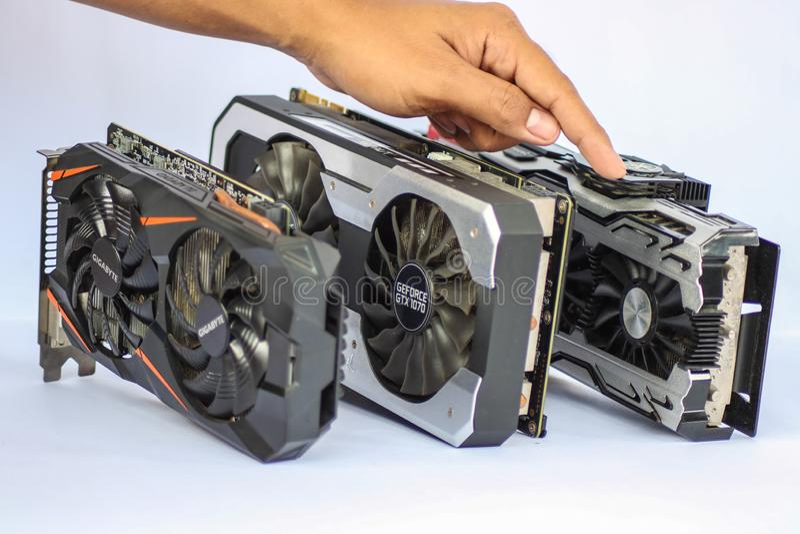 Comparaison entre GTX 1080, GTX1070, et GTX1060 image stock