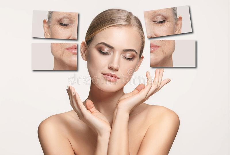 comparaison Portrait de belle femme avec le problème et le concept propre de peau, de vieillissement et de jeunesse, traitement d images libres de droits