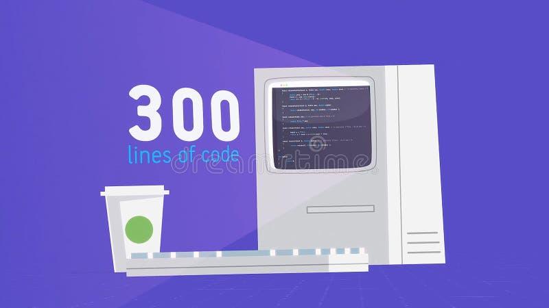 Comparaison visuelle de la quantit? de l'information en volumes de code machine et de livre Imprimer le code des prises d'un prog illustration libre de droits