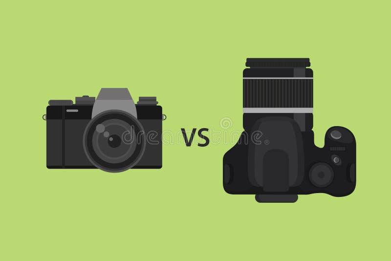 Comparando la cámara de Mirrorless contra cámara de DSLR represente el ejemplo con el fondo negro del color y del verde ilustración del vector