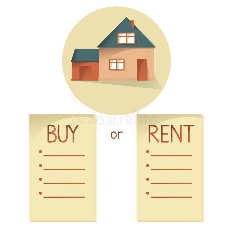 Comparar la casa de la compra y de alquiler, lista con las balas, elige la compra o el alquiler de la propiedad, concepto del vec stock de ilustración