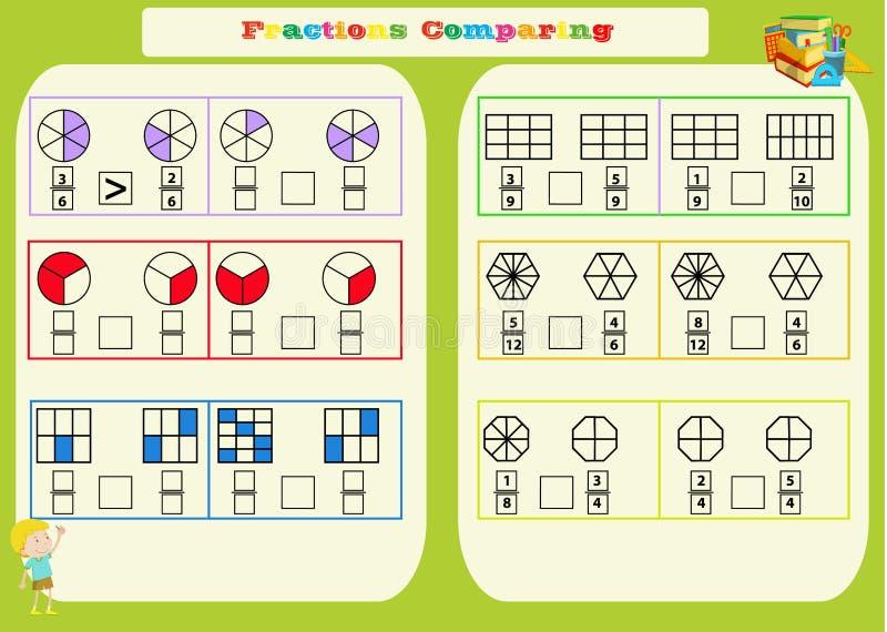 Comparar la hoja de trabajo matemática de las fracciones cuadrados P?gina del libro de colorear Rompecabezas de la matem?ticas Ju ilustración del vector