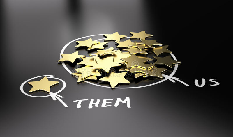 Comparative Advertising Concept. 3D illustration of golden stars over black background to be used for comparison between your company and our competitors stock illustration