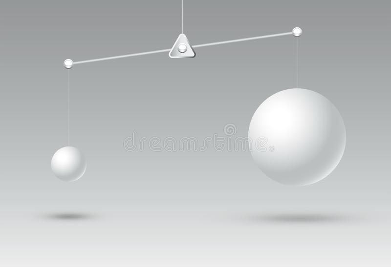 Comparative with disadvantage and advantageous illustration,business competition concept and successful. Difference of shape and not balance,circle big and stock illustration