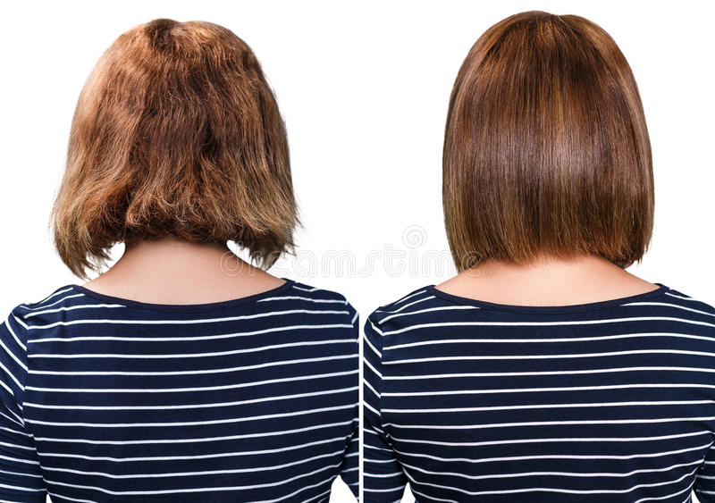 Comparative portrait of damaged hair. Before and after treatment royalty free stock photography