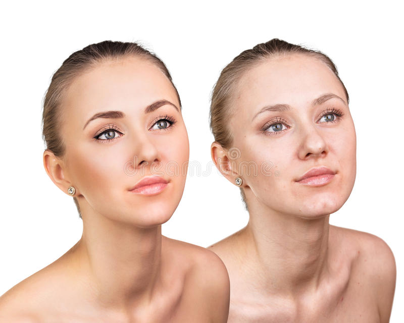 Comparative portrait of female face. Without and with makeup stock photography