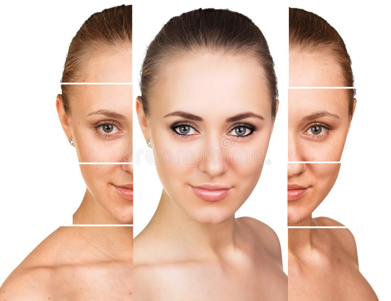 Comparative portrait of female face. Without and with makeup stock image