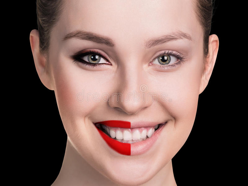 Comparative portrait of female face. Without and with makeup royalty free stock photos