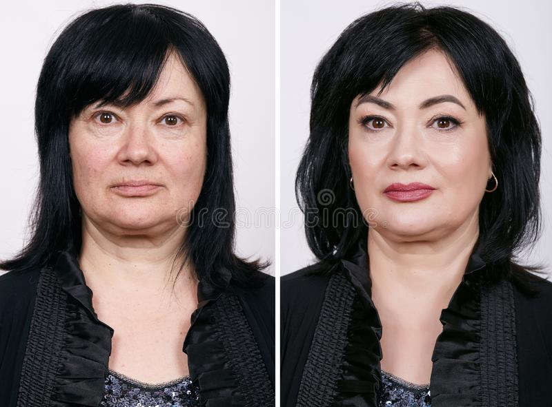 Comparative portrait of mature woman with and without makeup.  stock photography