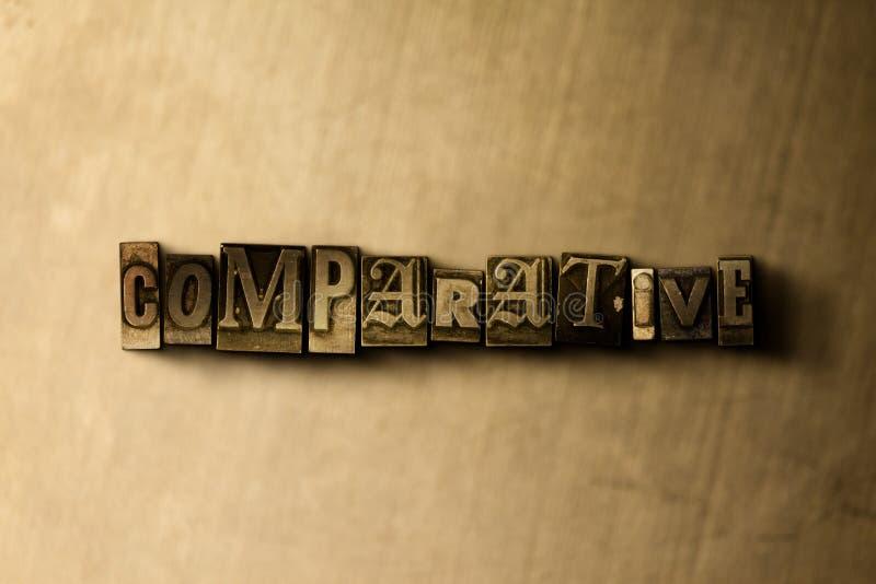 COMPARATIVO - il primo piano dell'annata grungy ha composto la parola sul contesto del metallo illustrazione vettoriale