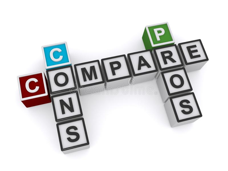 Compare cons pros royalty free illustration