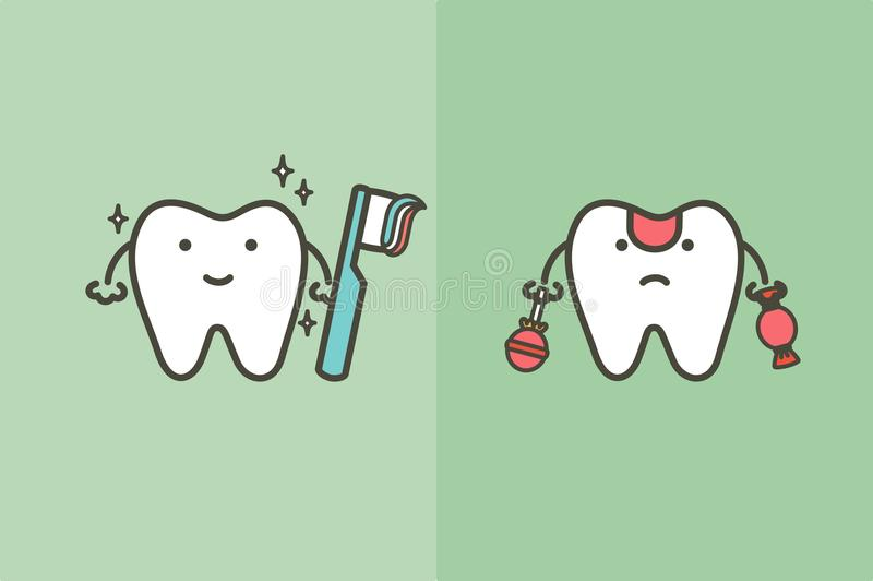 Compare del diente blanco sano con los dientes de cepillado y del diente decaído malsano del dulce y del caramelo - vector dental stock de ilustración