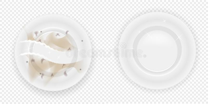 Compare dishes dirty dishes with dishes clean.Realistic dishes on transpatent background. Vector illustration vector illustration