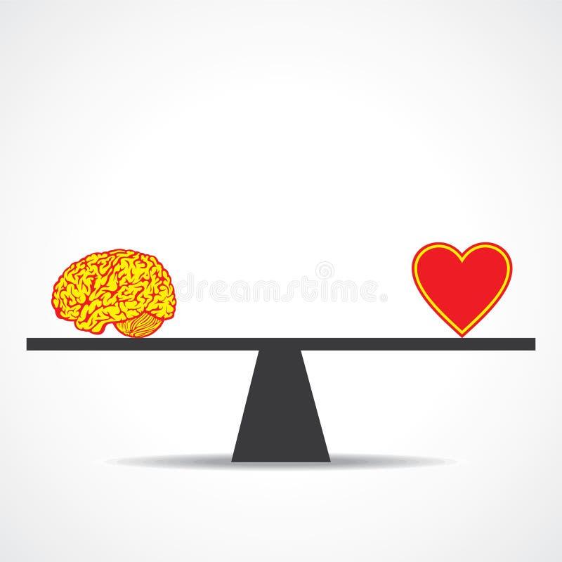 Compare la mente con el corazón stock de ilustración