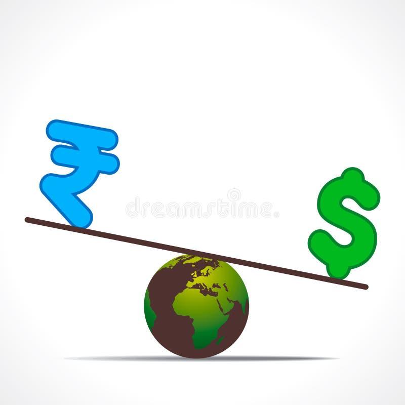 Compare la rupia y el dólar en diseño de la tierra libre illustration