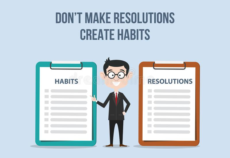 Compare between resolutions and habits for target new year for improvement royalty free illustration