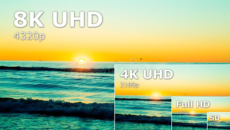 Compare of television resolution. uhd 8k television resolution ultra hd. Concept stock photo