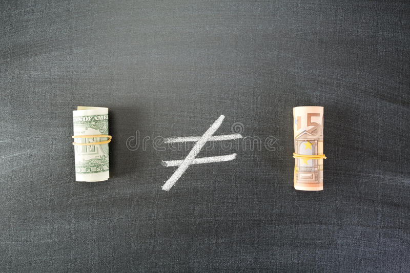 Compare US Dollar to Euro stock photo