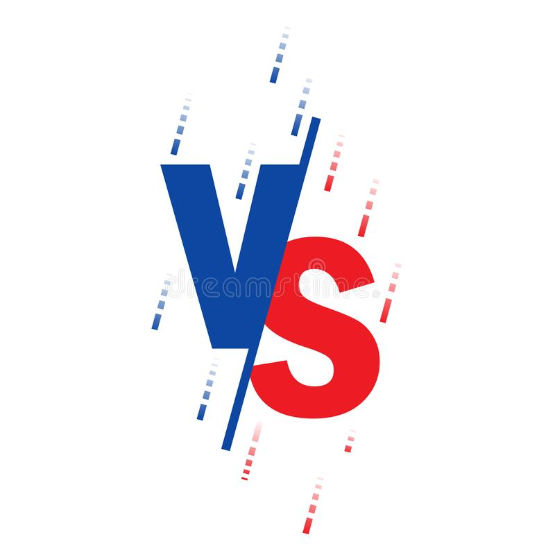 Compared to the screen. Fight against backgrounds against each other, red against blue. Black letters Texture shape. Vector stock illustration