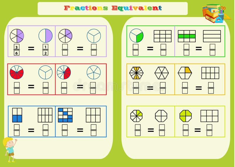 Comparer la fiche de travail math?matique de fractions places Page de livre de coloriage Puzzle de maths Jeu ?ducatif Illustratio illustration libre de droits