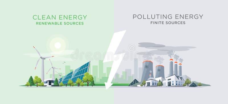 Comparer propre et centrales d'énergie de pollution illustration de vecteur
