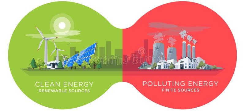 Comparer propre et centrales d'énergie de pollution illustration libre de droits
