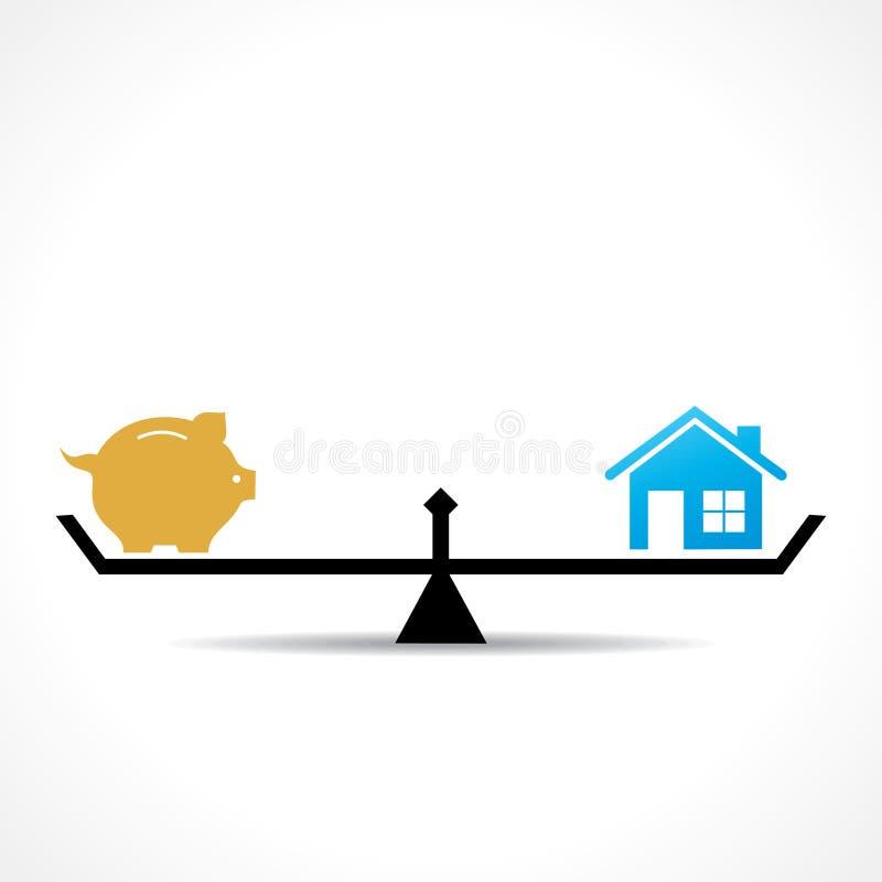 Comparez l'argent et le concept à la maison illustration libre de droits